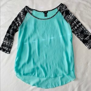 RUE21 teal & Aztec (arms) blouse